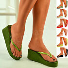 New Womens Ladies Wedges Platform Flip Flops Slippers Sandals Shoes Size Uk 3-8