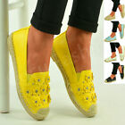 New Womens Ladies Studded Ballerinas Flat Slip On Espadrilles Sandals Shoes Size