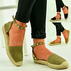 New Womens Ladies Ankle Strap Sandals Rock Stud Espadrilles Summer Shoes Size Uk