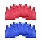 Mesh Scrimmage Practice Jerseys TEENS & ADULTS Training Vests Pinnies Red Blue