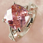 POP Pink & White Gemstone Fashion Jewelry Women Gift Silver Ring Size 6 7 8