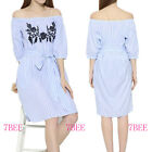 New Women's Embroidered Off Shoulder Striped Dress With Lace Belt Casual Dresses