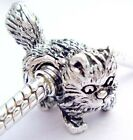 stand cat European silver charms bead Fit Bracelet/Necklace chain J-325