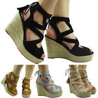 New Womens Ladies Ankle Strap Lace Up Espadrilles High Wedge Shoes Sandals Size