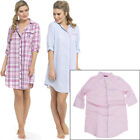 Ladies/Womens Button Front Check/Stripe Nightshirt/Nightie/Nightdress Size 8-18