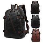 Mens Travel Backpack Junior high school Satchel Leather Laptop Camping Rucksack Shoulder Bag