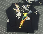 Italy Women's Crewneck Floral Bird Embroidered Black Loose Sweater Jumper S-L