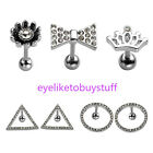 16G Punk Stainless Steel Rhinestones Earring Tragus Ringhelix Cartilage Ear Stud