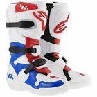 ALPINESTARS TECH 6S YOUTH BOOTS WHITE BLUE RED KIDS JUNIOR MOTOCROSS MX CHEAP