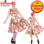 RKH107 Hearts and Roses H&R Pink Floral Maureen Rockabilly Plus 50 Dress Vintage