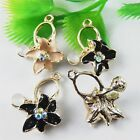 10 pcs Assorted Enamel Plated Crystal Alloy Morning Glory Flowers Charms Pendant