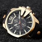 Mens Fashion Military Stainless Steel Quartz Leather Date Army Sport Wrist Watch