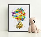 UP Disney Print Watercolor Illustration Wall Art Framed Poster Canvas Balloons