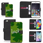 faux leather wallet case for many Mobile phones - lucky clover