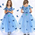 Girl Butterfly Blue Princess Cendrillon Costume Robe Jupe Déguisements filles
