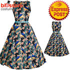 RKL42 Lady Vintage London Peacock Mesmerising Macau Hepburn Dress 50s Rockabilly