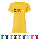Eat Clean Train Dirty Ladies Tees Fitness Womens Workout Healthy Gym T-Shirts