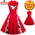 K325 Red Retro Rockabilly Vintage Floral Party 50 Swing Dress Evening Formal