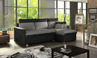 flavio corner sofa bed leather and fabric with double storage white grey black