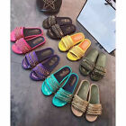 Women's Genuine Leather Satin Sandals Chain Flats Slippers Size 5-12 12 colors