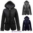 NEW LADIES FITTED QUILTED WOMENS HOODED PADDED ZIP JACKET COAT TOP SIZES 8-14