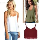 New Womens Plain Swing Vest Sleeveless Top Strappy Cami Ladies Plus Size BLLT