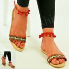 New Womens Ladies Flat Greek Sandal Ankle Strap Pom Pom Summer Shoes Size Uk 3-8