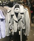 Spain Women's Soft Faux Suede Lapel Belted Bomber Jacket Moto Biker 2 color XS-L
