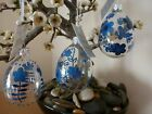 Gisela Graham Clear Glass Egg with Blue Flowers Easter decoration (3 asst) 8cm