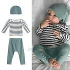 Newborn Baby Boys Long Sleeve Shirt Tops Long Pants Hat 3PCS Outfits Set Clothes