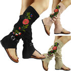 New Womens Ladies Flat Mid Calf High Toe Post Buckle Flower Sandals Shoes Size
