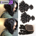 "Brazilian Bouncy Curls 3 Bundle/300G Human Hair Weft With 4x4"" Lace Closure"