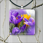 FLOWERS CROCUSES PURPLE PENDANT NECKLACE 3 SIZES CHOICE -msu6Z