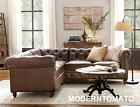 New Restoration Chesterfield English Industrial Hardware Leather Sectional Sofa