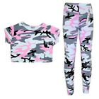 Girls Pink Camouflage Crop Top & Legging Set Outfit Kids Clothes Age 7-13 Years