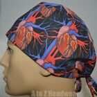 Anatomy of the Heart Black TRADITIONAL Tie Back Surgical Scrub Cap Hat