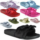 Womens Ladies Comfy Plain Rubber Bow Sliders Flats Shoes Slides Slippers Size
