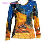 VINCENT VAN GOGH CAFE TERRACE NIGHT LS T SHIRT TOP FINE ART PRINT PAINTING *
