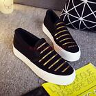 girl  Womens Canvas Sequins Platform sneaker Heels Slip On Loafers Casual  Shoes