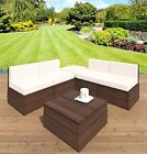 Brown Rattan Weave Garden Patio Balcony Furniture Lounge Chair Ottoman Footstool