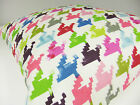NEW SINGLE CUSHION COVERS BLUE PINK GREEN DOG TOOTH PATTERN SAME FRONT & BACK