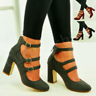 New Womens Mary Jane Pumps Block Chunky Heels Ankle Strap Sandals Shoes Size Uk