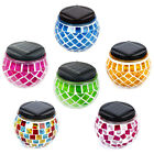 6 Outdoor Garden Solar Mosaic Glass Ball Landscape Path Lights Lamp Post Deck