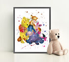 WINNIE THE POOH Poster Print Watercolor Framed Canvas Wall Art Nursery Disney