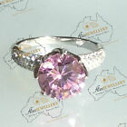 3.8ct 10mm Simulated Pink Diamond Engagement Weddi Real 925 Sterlin Silver Ring