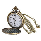 Retro Antique Pattern Pocket Watch Chain Necklace Pendant Unisex Gift