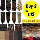 UK Real Full Head Hair Extensions 8pieces Clip In Hair as Human Curly Mega Thick