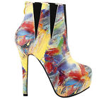 Yellow Modern-looking Colorful Abstract Painting Platform Stiletto Ankle Boots