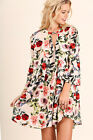 UMGEE Size S M L Floral Blush Print Dress Boho Tunic Hippie Shift Bell Sleeve