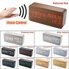 Digital LED Wood Wooden Desk Clock Alarm Voice Control Timer Thermometer Decor